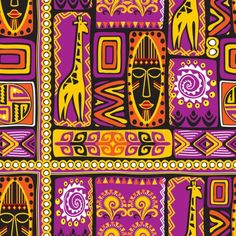 vector seamless background with violet African design elements Arte Tribal, Tribal Art, Tribal Patterns, Print Patterns, Mexican Pattern, African Art Paintings, Fashion Design Template, Africa Art, Hippie Art