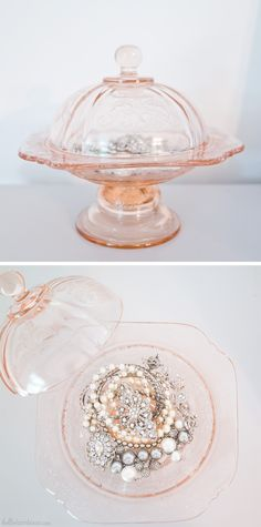Use a beautiful dish to display your favorite jewelry Interior Design Living Room Warm, Dish Display, Jewelers Near Me, Jewelry Insurance, Big Jewelry, Closet Accessories, Pink Depression Glass, Shabby, Vintage Crafts