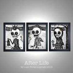 After Life Print Set Day of the Dead sugar skull 5x7 DEAL. $15.99, via Etsy. Skull home decor!