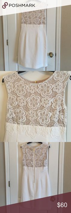 Tahari Sleeveless White Dress Tahari Sleeveless white dress.  Crocheted  flowers at top with a nude color background.  Dress is fully lined.  NWOT.  Never worn. Tahari Dresses Midi