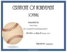 Softball award certificate slopitch pinterest girls softball a variety of free printable baseball certificate templates many more free sports awards and award certificates on this site pronofoot35fo Choice Image