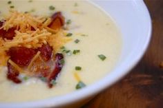 O'Charley's Loaded Potato Soup - 3 lbs red potatoes, butter, flour, half and half and Velvetta cheese make up this soup. I've never eaten at O'Charley's but this still sounds delicious!