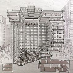 Architecture, Design & Photography: Section drawing of the ford foundation by #kevinroche courtesy of LTL architects #nyc#office#rochedinkeloogarden by jazzyli_nyc