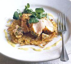 Salmon on potato rosti with mint aioli