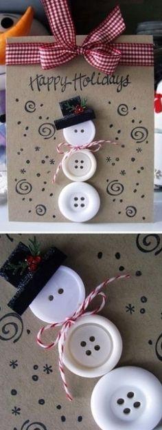 Simple Christmas Cards, Christmas Card Crafts, Homemade Christmas Cards, Kids Christmas, Homemade Cards, Christmas Ornaments, Button Christmas Cards, Chrismas Cards, Merry Christmas