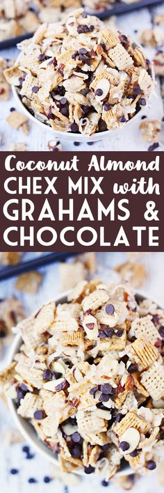 Coconut Almond Chex Mix with Grahams and Chocolate -- Coconut almond Chex mix becomes twice as irresistible after adding Golden Grahams and mini semisweet chocolate chips to the classic recipe. | isthisreallymylife.com #recipe #chexmix
