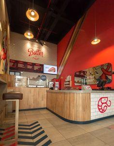 Restaurant Kitchen Design, Restaurant Bar, Smoothie Shop, Chicken Shop, Cafe Exterior, Brick Projects, Shop Layout, Restaurant Interior Design, Signage Design