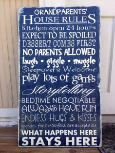 21 x 36 Custom PAINTED Wood Sign Family or Grandparents HOUSE RULES