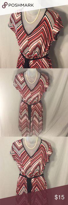 Dress Red black and white large chevron pattern dress with self tie belt. Dresses Midi