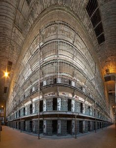 'The Block' This remains the largest free standing cell block in the USA at 6 tiers. Built between 1886 and 1910 the Ohio State Reformatory in Mansfield, OH, remained in operation until 1990. Photo by John Crouch on July 2, 2012.