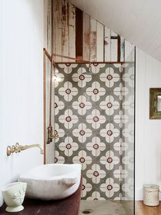 Spanish Tile Bathroom The Design Files Tile Bathroom Style Bathrooms Spanish Style Tile Bathrooms Bohemian Bathroom, Diy Bathroom, Bathroom Tiling, Bathroom Ideas, Master Bathroom, Shower Tiles, Bathroom Modern, Bathroom Designs, White Bathroom