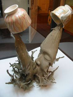 """Liquid Kiss  """"Tsang Cheung Shing is the ceramic artist who created this incredible pottery installation called """"Ying Yeung."""" The name refers to a Chinese beverage of mixed coffee and tea and also symbolizes the mandarin duck, a metaphor for marriage and love."""""""