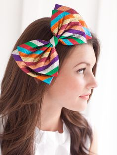 I want my hair to look like that and a bow that big! Big Hair Bows, Big Bows, Rainbow Bow, Rainbow Hair, Bike Pants, Candy Stripes, Headpieces, Headbands, Kids Fashion