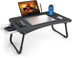 Amazon.com: lap desk with legs Bed Tray Table, Lap Table, Lap Desk, Dining Table, Laptop Table For Bed, Portable Laptop Desk, Living Room Sofa Design, Folding Beds, Water Bottle Holders