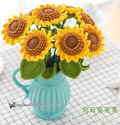Sunflower Bouquet Free Crochet Pattern Step By Step Tutorial Crochet Sunflower, Sunflower Pattern, Crochet Bouquet, Crochet Flowers, Crochet Turtle, Sunflower Bouquets, Crochet Gratis, Crochet Toys Patterns, Crochet Home