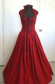 Blood Red Renaissance Bodice and Skirt Dress MADE for by desree10