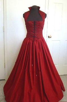 Sangre rojo Renacimiento blusa y falda vestido hecho por desree10