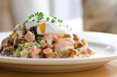 Mother's Portland Wild Salmon Hash, Roasted Potatoes, Leeks, Cream, Chives, and a Poached Egg- amazing! use spinach in place of potatoes!
