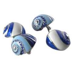 Unique Hand Enamelled Seashell Shaped Sterling Silver Cufflinks