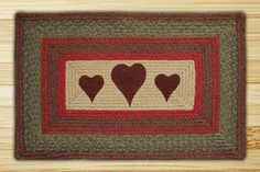 Hearts Printed Area Rug