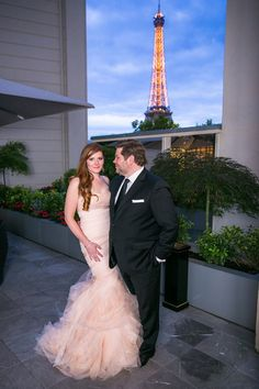 #148 #Paris #France #Wedding #Couple #Bride #Dress #Pink #Groom #Suit #Eiffel Tower