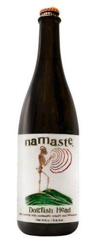 Cerveja Dogfish Head Namaste, estilo Witbier, produzida por Dogfish Head Craft Brewed Ales, Estados Unidos. 5% ABV de álcool.
