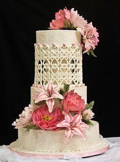 Three tier Wedding Cake with Gum Paste flowers by Lena da Cruz - http://cakesdecor.com/cakes/261601-three-tier-wedding-cake-with-gum-paste-flowers