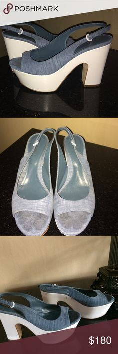 Sergio Rossi denim platform shoes size 8 Sergio Rossi denim platform shoes size 8.designer shoe.Like new only worn a few times. The back heel measures 4 3/4 inches in height. White platform bottom and denim material on top. Made in Italy, designer shoe. segio rossi Shoes Platforms