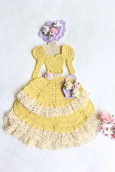 Crochet crinoline lady doily