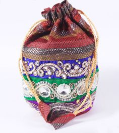Multicoloured Hand Embroidered Velvet Potli #Designer #Designerpotlis #bags #embroidered #Potlis #Ethnicpotlis #accessories