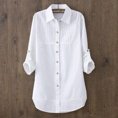 Quality Cotton 2019 Spring Summer Women White Blouse Long-sleeved Slim Cotton Casual Work White Shirts Office Lady Button Tops with free worldwide shipping on AliExpress Mobile Long White Shirt, White Long Sleeve, White Shirts Women, Blouses For Women, Ladies Blouses, Ladies Tops, Cotton Blouses, Shirt Blouses, Cotton Shirts