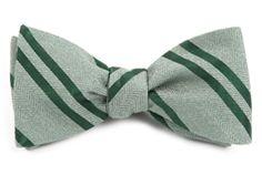 Bow Ties - Wool Path Stripe - Moss Green