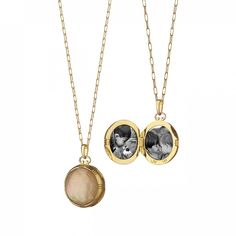 Shop at MRK Style: Fine Jewelry by Monica Rich Kosann - 18K Yellow Gold Petite Round Double-Sided Rock Crystal over Cognac Mother of Pearl Stone Locket, $2,450.00 (http://shop.mrkstyle.com/18k-yellow-gold-petite-round-double-sided-rock-crystal-over-cognac-mother-of-pearl-stone-locket/)