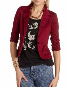 ruched sleeve ponte blazer #jacket