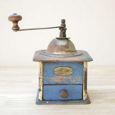 Blue French Vintage Coffee Grinder