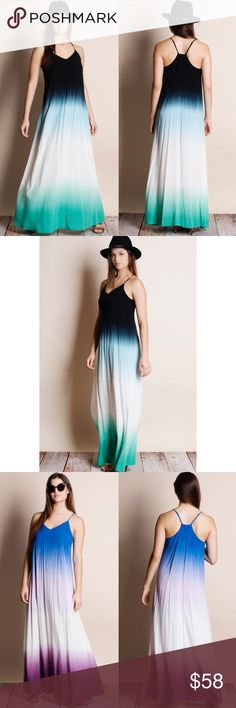 Dip Dye Ombré Maxi Dress Dip dye ombré maxi dress. Available in black-jade, coral-magenta, royal blue-purple, teal-navy. This listing is for BLACK-JADE. This is an ACTUAL PIC of the item - all photography done personally by me. True to size. Adjustable straps. Brand new with tags. NO TRADES DO NOT BOTHER ASKING. Bare Anthology Dresses Maxi