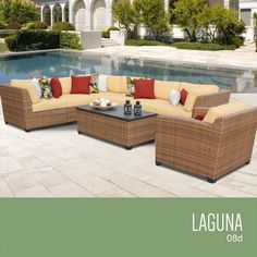 Outdoor Living  TKC Laguna 8 Piece Outdoor Wicker Patio Furniture Set * This is an Amazon Associate's Pin. Find out more on the website by clicking the image.