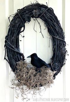 Couronne d'Halloween avec un corbeau - tutoriel