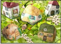 Cottages painted rocks