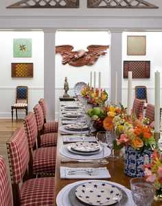 Wonderful patriotic dining room, red checked chairs, stars and eagles