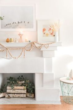 Love this DIY wooden bead garland for the mantle that adds a fun and creative touch to the home.