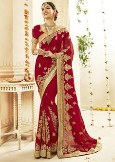 Fancy Red Color Cotton Silk Floral Embroidered Party Wear Saree Get this amazing saree from Indian Women and look pretty like never before. Wearing this red color cotton silk saree. Ideal for party, festive & social gatherings. This gorgeous saree featuri Traditional Sarees, Traditional Outfits, Traditional Fashion, Saris, Indian Dresses, Indian Outfits, Indian Bridal Sarees, Wedding Sarees, Outfits