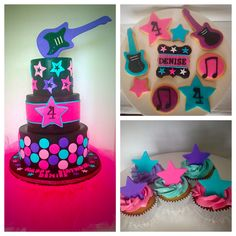 Rock star cake w/ sculpted guitar topper. Matching cupcakes & cookies
