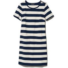 L.L.Bean Signature Signature Sailor T-Shirt Dress  Misses ($65) ❤ liked on Polyvore featuring dresses, striped t-shirt dresses, white dress, striped tee shirt dress, white cotton dress and white tee shirt dress