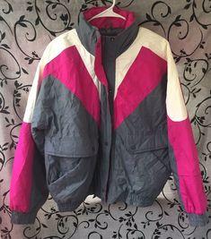 d90f9a25459d1 Details about Vintage 90 s St. Johns Bay Winter Coat Jacket L Pink Gray  White colorblock