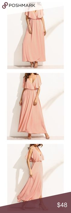 Blush Pink V Neck Ruffle Maxi Dress Maxi Dress V Neckline Butterfly Sleeves 100% Polyester  STYLING TIPS Undergarments: May be worn with a plunge bra, adhesive bra, petals, or no bra. Jewelry: Pair this dress with a choker for a boho style look. Shoes: A wedge sandal can make this dress be the most comfortable outfit you would wear. MBM Unlimited Dresses Maxi