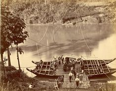 Pont over de Citarum nabij Cianjur, Java, Indonesië (1857-1879)