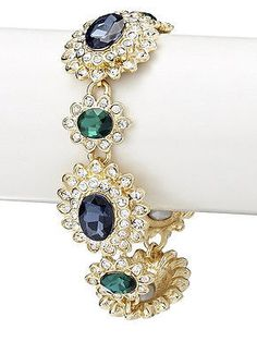 NWT CZ by Kenneth Jay Lane 22k Gold Plated Sapphire Emerald Red Carpet Bracelet