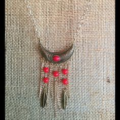 Boho chic necklace Bohemian style feathered necklace Jewelry Necklaces