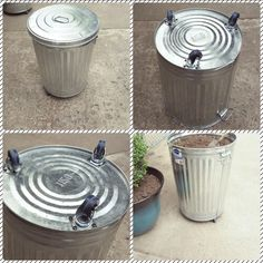 Add Casters to a steal garbage can for an easy to move potting soil storage container!